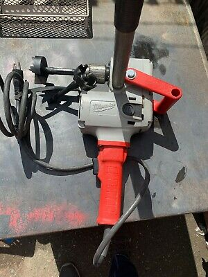 "milwaukee hole hawg 1/2"" drill with handle and chuck key"