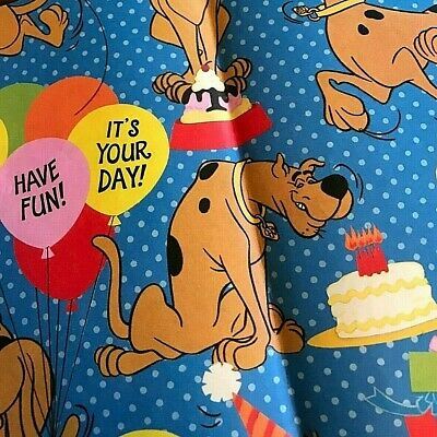 "Scooby-Doo Birthday Wrapping Paper 18"" x 19"" scrap Good Used Condition NOS"