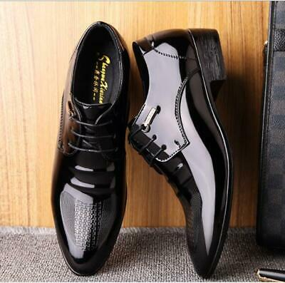 Mens Shiny Patent Leather Shoes Smart Formal Oxford Wedding Office Shoes Size