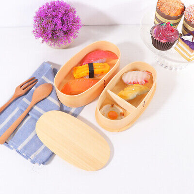 1 pc Lunch Box Japanese Style Wooden Double-layer Food Carrier for Picnic School