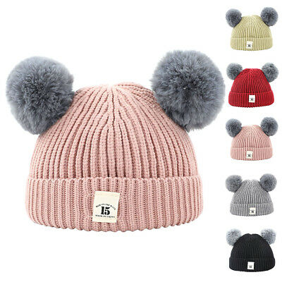 Kid Child Baby Boys Girls Beanie Hat Winter Warm Double Fur Pom Bobble Knit Cap