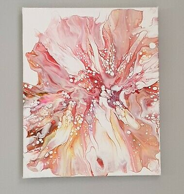 Original Abstract, Acrylic Fluid Pour Art On Stretched Canvas