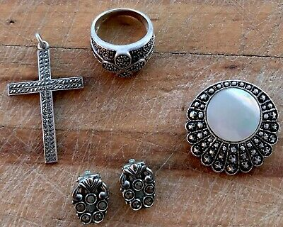Vintage Cocktail Ring Cut Steel Sterling Silver Germany Scarf Clip Crucifix Lot