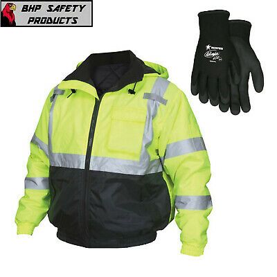 Hi-Vis Insulated Safety Bomber Reflective Jacket with Cold Weather Work Gloves