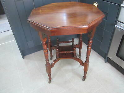 Antique Victorian Aesthetic Movement Octagonal Spindle Cut Elm? Occasional Table