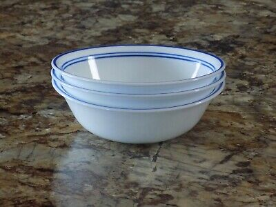 """Set of 3 Corelle Classic Cafe Blue Cereal Soup Salad Bowls 6 1/4"""" Free Shipping"""