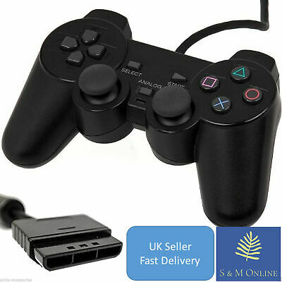 UK Wired Black Dual Shock Controller for PS2 PlayStation Joy pad Game pad UK