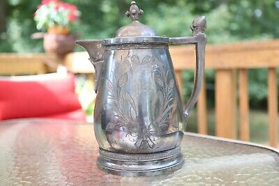 J A S Stimpson 1800's Silverplate Victorian Water Pitcher Wallingford CT