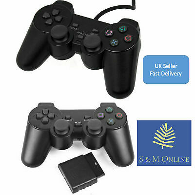 *UK* Pair Wireless & Wired Black Dual Shock Controller PS2 PlayStation Gamepads