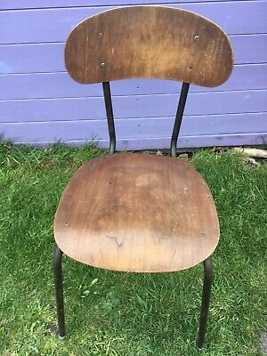 Vintage industrial Old Style School Stacking Chair Bentwood Ply Wooden