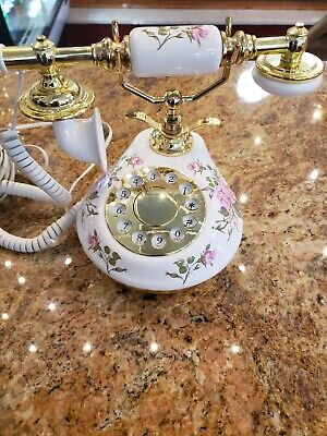 Shabby Pink Rose Chic Gold White Button Phone French Provincial Telephone Siecle
