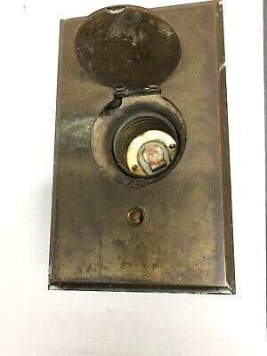 Vintage Antique Bryant Ceramic Outlet Brass Plate Push Button Era
