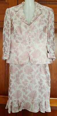 Size 10/12 ivory and rose pink floral linen blend jacket and skirt suit