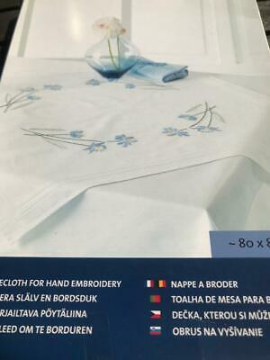 Tablecloth for Embroidery Kit  Blue Flowers 80 x 80cm Printed Cloth, Cotton