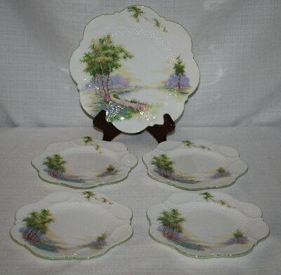 Aynsley Scalloped Bluebell Time Bread Butter Plates & - Set Of 4 + 1 Salad Plate