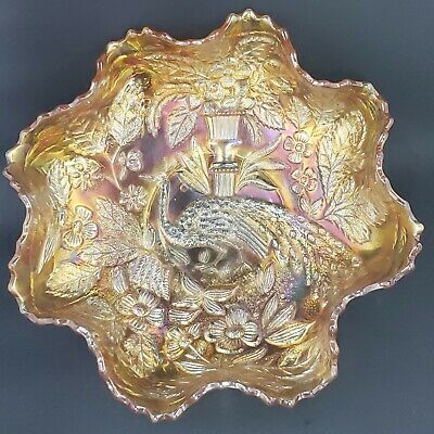 Fenton Peacock and Urn Carnival Ruffled Bowl, Iridescent Marigold, Sawtooth Edge
