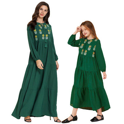 Embroidery Muslim Women Kids Girls Long Sleeve Maxi Dress Matching Clothes Robe