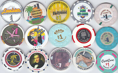 15 Different $1 Casino Chips From Caribbean Casinos-Various Locations, Some Old