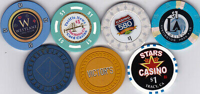 7 Different $1 Casino Chips From California Casinos-Various Locations, Some Old