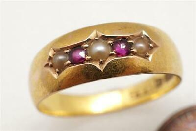 PRETTY ANTIQUE LATE VICTORIAN ENGLISH 15K GOLD RUBY & PEARL RING c1888