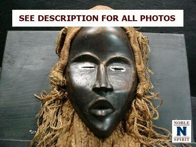 NobleSpirit  NO RESERVE (3970) Hand-Made African Female Tribal Mask w/ Hair