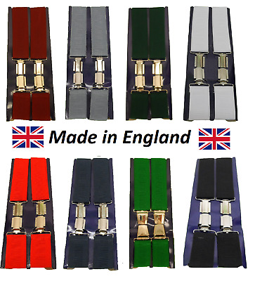 Mens 35mm 1 1/2 Inch Plain Adjustable Elasticated Braces in Lots of Colours