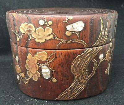 Antique Japanese Inro Oriental Brass Mother Of Pearl Box