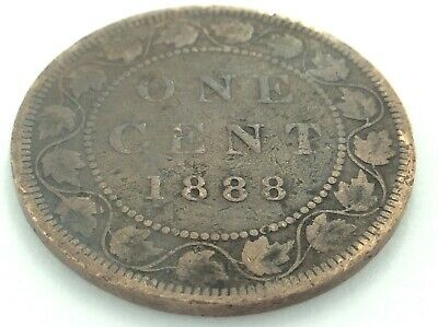 1888 Canada 1 One Cent Large Penny Victoria Canadian Coin K948
