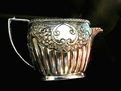 ANTIQUE Mid Size PITCHER > REPOUSSE FLORAL Pattern & RIBBED w/SCALLOPED RIM