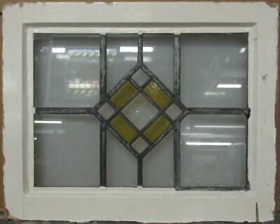 "OLD ENGLISH LEADED STAINED GLASS WINDOW Gorgeous Diamond Design 21"" x 16.75"""