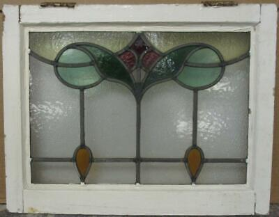 "OLD ENGLISH LEADED STAINED GLASS WINDOW Pretty Abstract Drops 21"" x 16.25"""