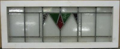 "OLD ENGLISH LEADED STAINED GLASS WINDOW TRANSOM Gorgeous Geometric 34.25"" x 14"""