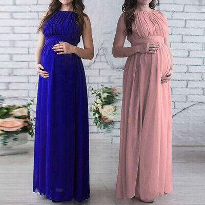 Pregnant Women Long Maxi Gown High Waist Tght Casual Solid Color Maternity Dress