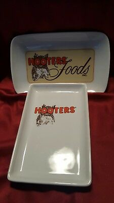 Set of two small Hooters ceramic trays appetizer plate collectible