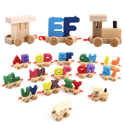 1Wooden Train Set Alphabet Wood Letters W/Wheels Kids Toddler Educational Toy