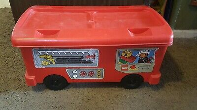 Rare large Lego fire truck storage bin container vintage 1997 fire station bin