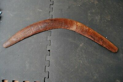Old northern South Australian Aboriginal boomerang with incised totemic designs
