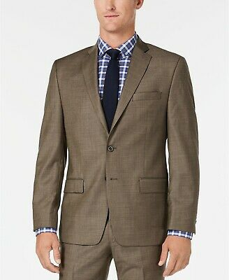 $350 Michael Kors Classic Fit Stretch Brown Sharkskin Suit Jacket Mens 38S NEW