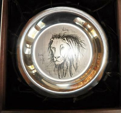 Franklin Mint 1974 Bernard Buffet Lion Sterling Silver Plate Limited Edition
