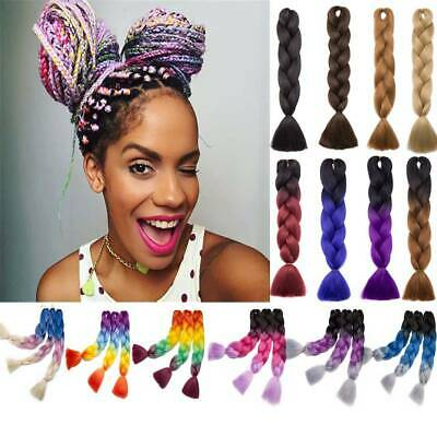 Afro Twist Braids Synthetic Jumbo Braids Extensions Hair Ombre Colored Crochet