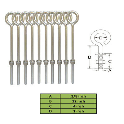 10 Pc Stainless Steel 3/8'' x 12'' Turned Eye Bolt and Washers 140 Lb Cap.