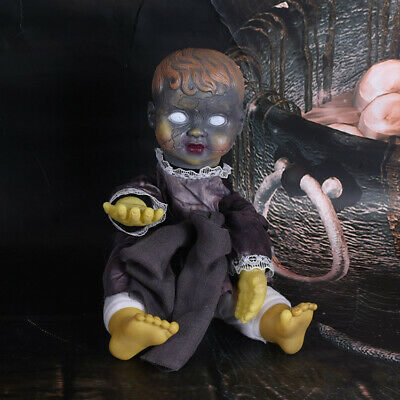 Halloween Creepy Doll Haunted Scary Talking Sitting Zombie Baby Light Up Props