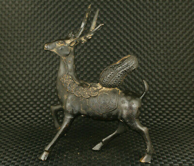 Big chinese old bronze fortune deer bring money statue figure table deco gift