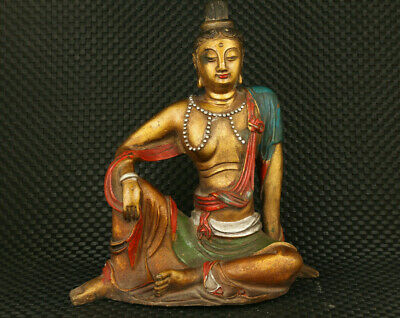 Tibetan old copper coloured painting Antique reproduction buddha statue figure