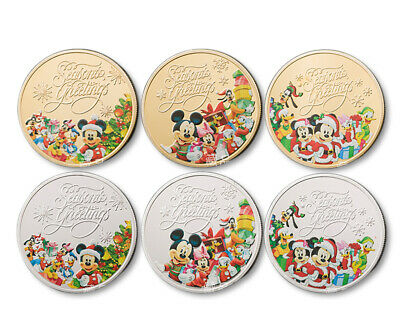 6pc Children Christmas Disney Mickey Commemorative Coin Art Collect Gift Set