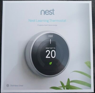 Nest Learning Thermostat 3rd Generation, Stainless Steel BNIB sealed