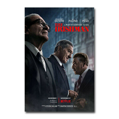 The Irishman Movie Martin Scorsese Robert De Niro Silk Canvas Poster 24x36 inch