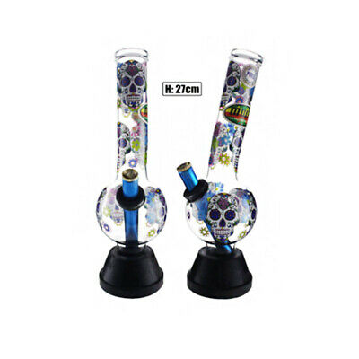 Medium Bent Bonza Candy Skull Glass Bong Waterpipe Hookah Water Pipe Chamber 27