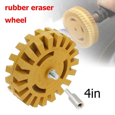 """Decal Removal Eraser Wheel w/ Power Drill Arbor Adapter 4"""" Rubber Pinstripe"""