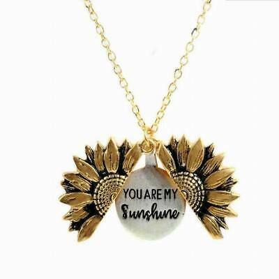 Retro You Are My Sunshine Open Locket Sunflower Necklace Xmas Gift Pendant New